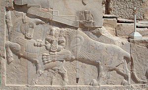March equinox - Bas-relief in Persepolis—a symbol Iranian/Persian Nowruz—on the day of an equinox, the power of an eternally fighting bull (personifying the Earth) and that of a lion (personifying the Sun) are equal.