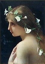 Nympha cum floribus gloriae matutinae picta a Iulio Iosepho Lefebvre