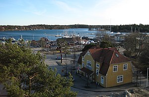 Nynäshamn - Railway station and harbour, seen from the Nynäshamn church