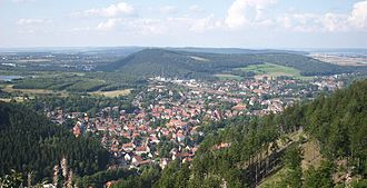 Oker (Goslar) - View over Oker and Sudmerberg from the Harz mountains