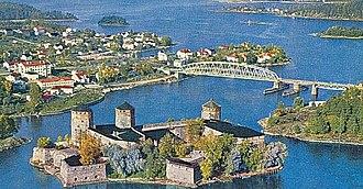 Savonlinna - Image: Olavinlinna from air pre 1962