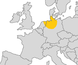 Old Saxon - Area in which Old Saxon was spoken in yellow.
