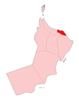 Guvernementets beliggenhed i Oman.