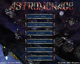 The main menu of AstroMenace