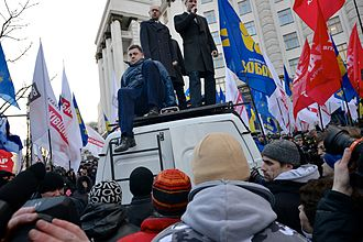 Arseniy Yatsenyuk - Opposition leaders Yatsenyuk, Vitali Klitschko and Oleh Tyahnybok, addressing demonstrators, November 27, 2013