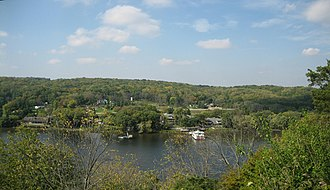 Eagle's Nest Art Colony - The present-day view from Eagle's Nest Bluff overlooking the Rock River