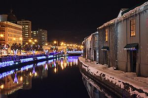 Otaru - A view of Otaru Canal at night