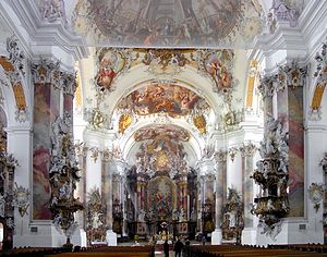 Johann Michael Feuchtmayer - Interior of stuccos Abbey, showing the stucco design of J. M. Feuchtmayer