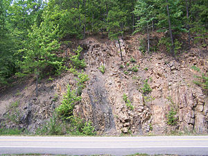 Ouachita Mountains - Vertical rock strata, eastern Ouachita Mountains