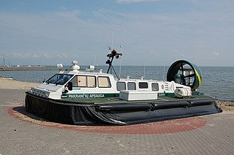 Hovercraft - A Lithuanian Coast Guard Griffon Hoverwork 2000TD hovercraft with engine off and skirt deflated