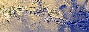 Valles Marineris on Mars. Approximately true c...