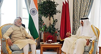 Foreign relations of Qatar - Indian Prime Minister Narendra Modi with Emir Tamim Bin Hamad Al Thani in Doha, June 2016