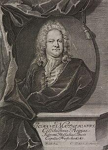 Johann Mattheson(Kupferstich von Christian Fritzsch 1769 nach Johann Salomon Wahl) (Quelle: Wikimedia)