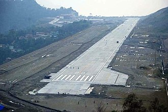 Runway at Pakyong Airport, is the first greenfield airport to be constructed in the Northeast India. Pakyongsikkim.jpg