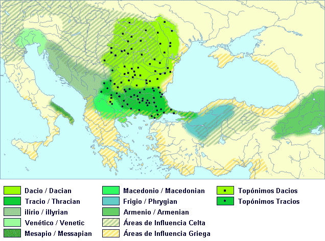 Paleo-Balkan languages in Eastern Europe between 5th and 1st century BC - Spanish and English