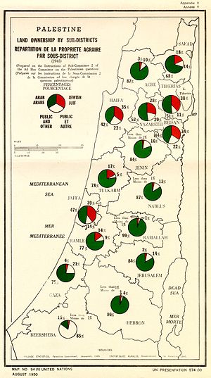 Village Statistics, 1945 - Map of Palestine Land ownership by sub-district (1945) originally published in the Village Statistics, 1945