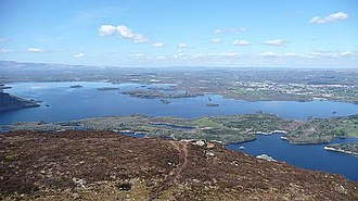 Torc Mountain - View northwards down to Muckross Lake and Lough Leane.