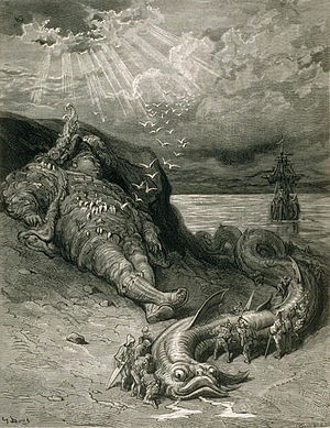 Tall tale - Rabelais' giant, Pantagruel, sleeps after his encounter; curious onlookers surround the sea serpent he has vanquished. Woodcut by Gustave Doré