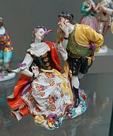 Pantalone with an actress, Johann Joachim Kaendler, Meissen Porcelain Factory, c. 1741, hard-paste porcelain - Wadsworth Atheneum - Hartford, CT - DSC05319.jpg