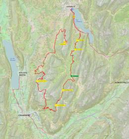 Carte en couleur avec tracé d'une étape cycliste du tour de France