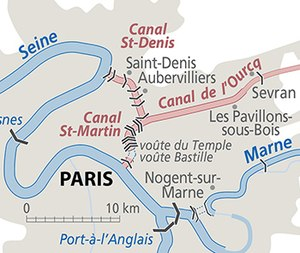 Canal Saint-Martin - Image: Paris city canals location
