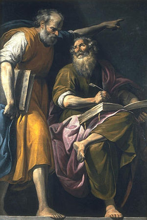 Marcan priority - Pasqualotto, St. Mark writes his Gospel at the dictation of St. Peter, 17th century.
