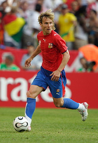 Kit (association football) - Pavel Nedvěd pictured in 2006 wearing a typical modern football kit
