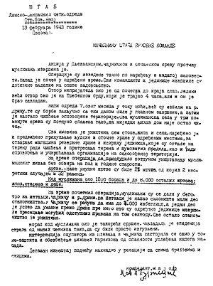 Pavle Đurišić - Đurišić's report of 13 February 1943 informing Mihailović of the massacres of Muslims in the counties of Čajniče and Foča in southeastern Bosnia and in the county of Pljevlja in the Sandžak.