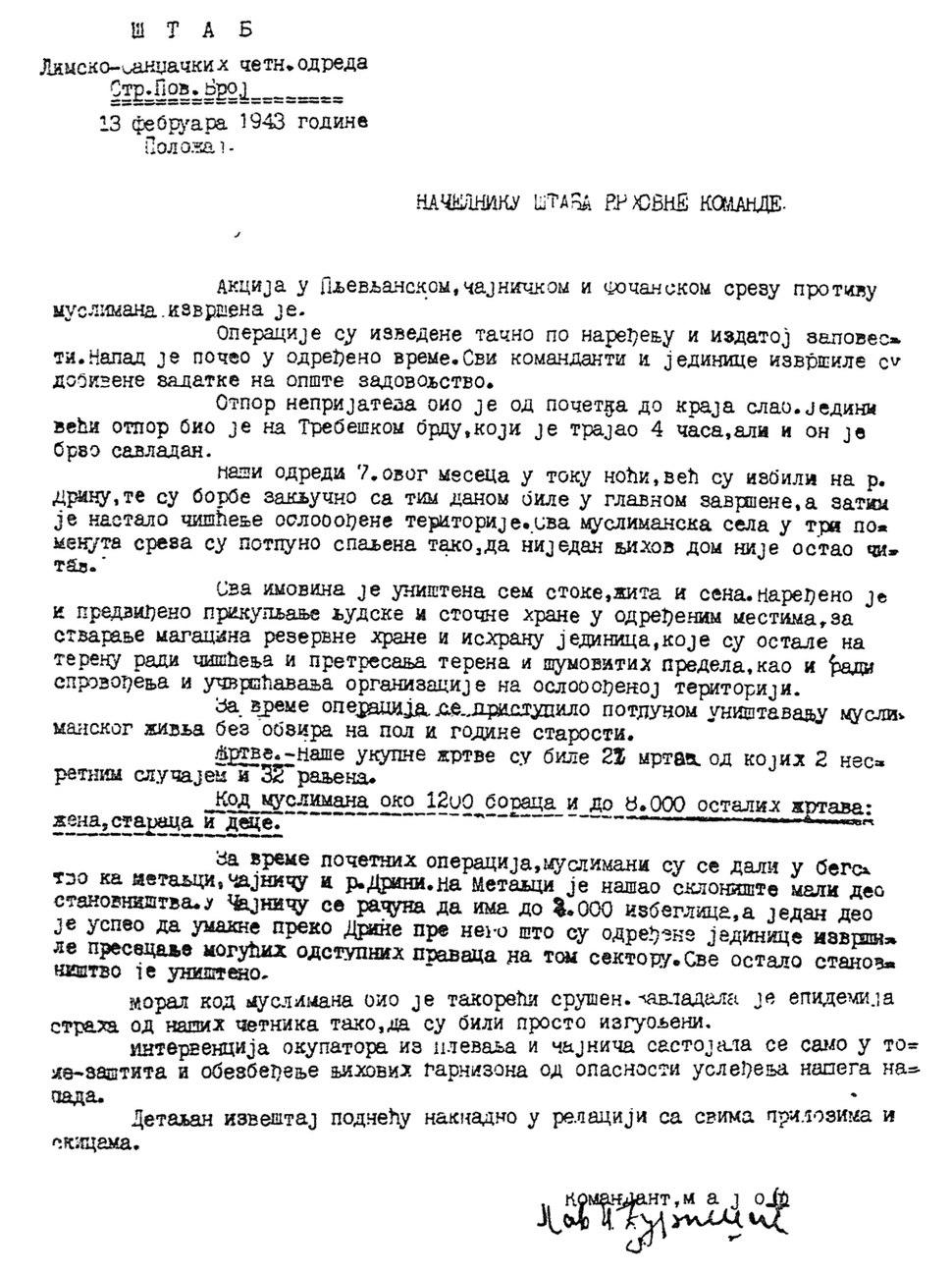 Pavle Đurišić 13 February 1943 Muslim massacre report