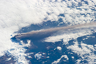 A volcano injecting hot ash into the atmosphere Pavlof2014iss.jpg