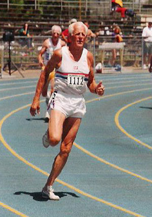 Masters athletics - Former U.S. Olympic coach Payton Jordan of California sets a world record (30.89 seconds) in the M80 age group in the 200-meter dash at the USATF National Masters Championships in 1997 in San Jose, California.