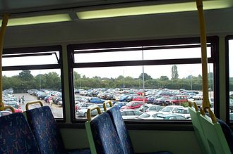 Park and ride bus services in the United Kingdom - Cars fill the Oxford Pear Tree site