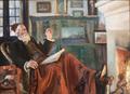 Peder Severin Krøyer - Ved kaminilden. Portræt af Holger Drachmann med rød fez - 1907.png