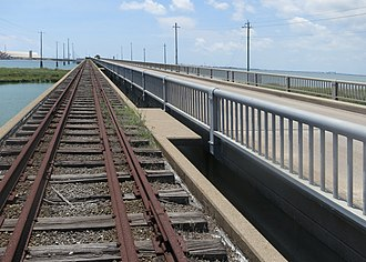 Pelican Island (Texas) - The island end of Galveston's Pelican Island Causeway taken from an abandoned railroad bridge running beside the causeway