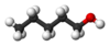 Ball and stick model of 1-pentanol