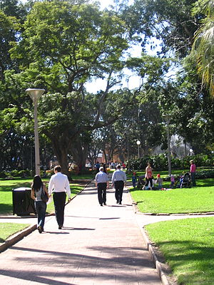 People walking in Hyde Park, Sydney, in April ...
