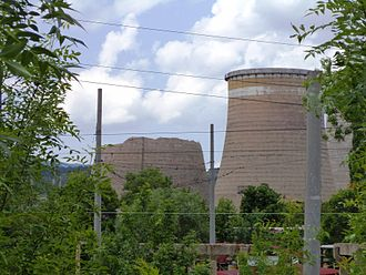 """2012 Pernik earthquake - One of the three towers of the """"Republika"""" Thermal Power Station in Pernik was heavily damaged"""