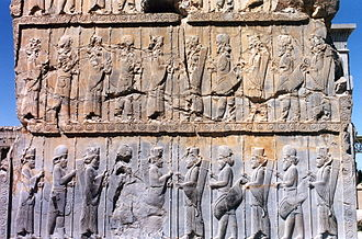 Greco-Persian Wars - Persian and Median Immortals in ceremonial dress, bas-relief in Persepolis