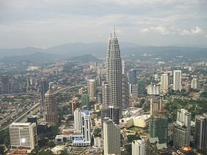 Petronas towers seen from nearby tower, Kuala ...