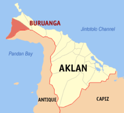 Map of Aklan with Buruanga highlighted