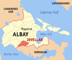 Map of Albay with Jovellar highlighted