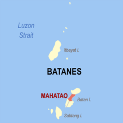 Map of Batanes showing the location of Mahatao