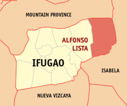 Map of Ifugao showing the location of Alfonso Lista