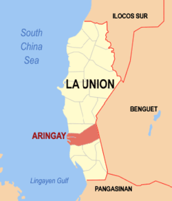 Map of La Union showing the location of Aringay