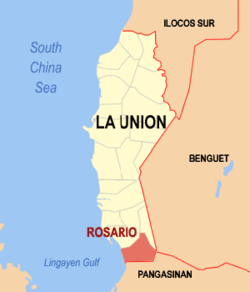 Map of La Union showing the location of Rosario.