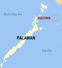 Map of Palawan with Agutaya highlighted