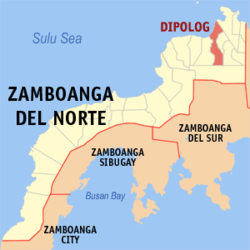 Map of Zamboanga del Norte with Dipolog highlighted