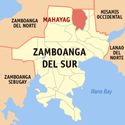 Map of Zamboanga del Sur with Mahayag highlighted