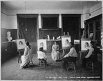 Visual arts by indigenous peoples of the Americas - Drawing class at the Phoenix Indian School, 1900