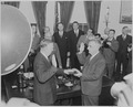 Photograph of George C. Marshall being sworn in as Secretary of State in the Oval Office by Chief Justice Fred... - NARA - 199520.tif